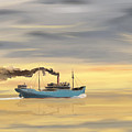 Steamship Freighter Heading Towards The Ocean by Jan Brons