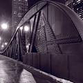 Steel Bridge Chicago Black And White by Steve Gadomski