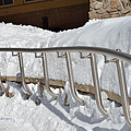 Steel Hand Rail In Snow by Kae Cheatham