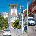 Steep Streets Up The Hills In Valparaiso-chile   by Ruth Hager