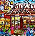 Steinberg's Grocery Montreal Memories Winter Scene Hockey Art Canadian Painting Carole Spandau       by Carole Spandau