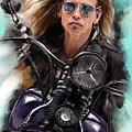 Steven Tyler On A Bike by Melanie D