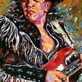 Stevie Ray Red Guitar by Debra Hurd