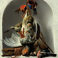 Stil Life With Birds And Hunting Gear In A Niche  by Melchior de Hondecoeter