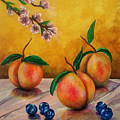 Still Life #5 Peaches And Blueberries by Thomas Lupari