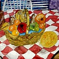 Still Life Art Fruit Basket 3 by Derek Mccrea