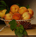 Still Life - Basket Of Peaches by Mountain Dreams