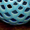 Still Life Geometric Globe In Blue Crazed Glaze 1881 S_3 by Steven Ward