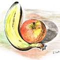 Still Life Of Apple And Banana  by Teresa White