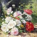 Still Life Of Flowers by Eugene Henri Cauchois