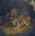 Still Life Of Fruit With A Monkey by George William Sartorius
