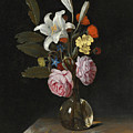 Still Life Of Roses Lilies And Other Flowers In A Glass Vase On A Marble Ledge by Cornelis Kick