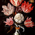 Still Life Of Variegated Tulips In A Ceramic Vase With A Wasp A Dragongly A Butterfly And A Lizard by Balthasar van der Ast