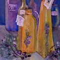 Still Life Olive Oil And Olive Twigs by Sabina Von Arx