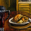 Still Life Pancakes And Coffee Painting by Natalja Picugina