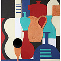 Still Life Paper Collage Of Wine Glasses Bottles And Musical Instruments by Mal Bray