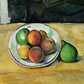 Still Life With A Peach And Two Green Pears by Paul Cezanne