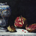 Still Life With A Pomegranate by Auguste Theodule Ribot