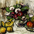 Still Life With Anemones And Fruit by George Leslie Hunter