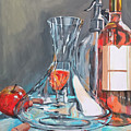 Still Life With Apple And Rose Wine. by Lorand Sipos