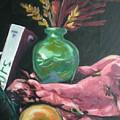 Still Life With Apple  Book And Vase by Aleksandra Buha