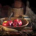 Still Life With Apples, Antique Bowl, Barrel And Shakers. by Michele A Loftus