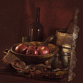 Still Life With Apples, Bottles, Baskets And Shakers. by Michele A Loftus