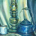 Still Life With Blue Tea Kettle by Colleen  Maas-Pastore