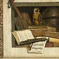Still Life With Books Sheet Music Violin Celestial Globe And An Owl by Jacob van Campen