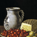 Still Life With Cherries  Cheese And Greengages by Luis Egidio Melendez
