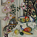 Still Life With Daisies And Fruit by George Leslie Hunter