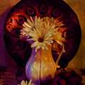 Still Life With Daisies And Grapes - Oil Painting Edition by Lilia D