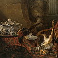 Still Life With Dead Game And A Silver Tureen On A Turkish Carpet by Jean-Baptiste Oudry