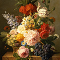 Still Life With Flowers And Fruit by Jan Frans van Dael