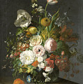 Still Life With Flowers In A Glass Vase by Rachel Ruysch