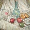 Still Life With Fruit And Wine by Joseph Sandora Jr