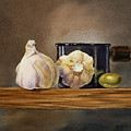 Still Life With Garlic and Olive by Irina Sztukowski