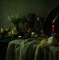 Still Life With Metal Dishes, Fruits And Fresh Flowers by Jaroslaw Blaminsky