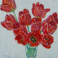 Still Life With Open Red Tulips by Vitali Komarov