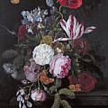 Still Life With Peonies Roses Irises Poppies And A Tulip With Butterflies A Dragonfly And Other Inse by Cornelis Kick
