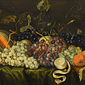 Still Life With Red Black And Green Grapes by Jacob Marrel
