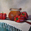 Still Life With Red Peppers by Keith Burgess