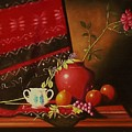 Still Life With Red Vase. by Gene Gregory