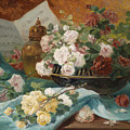 Still Life With Roses In A Cup Ornamental Object And Score by Eugene Henri Cauchois
