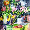 Still Life With Tulips And Apple Blossoms  by Trudi Doyle