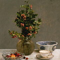 Still Life With Vase Of Hawthorn, Bowl Of Cherries, Japanese Bowl, And Cup And Saucer 1872 by Henri Fantin Latour
