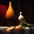 Still Life With Vases And Tulips by Tom Mc Nemar