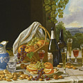 Still Life With Wine And Fruit by John F Francis