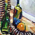 Still Life With Wine Bottles by Piotr Antonow