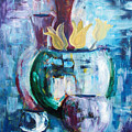 Still Life With Yellow Tulips by Gina De Gorna